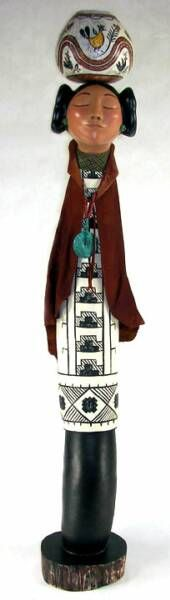 Hopi Maiden with a pot - Fine Gourd Art by Judy Richie