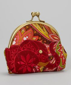 Another great find on #zulily! Burgundy Elephant Kiss-Lock Coin Purse by Karma #zulilyfinds