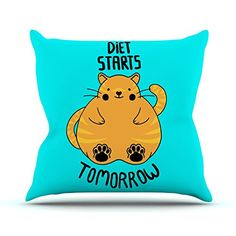 KESS InHouse TF2012AOP03 18 x 18-Inch 'Tobe Fonseca Diet Starts Tomorrow Blue Cat' Outdoor Throw Cushion - Multi-Colour ** Visit the image link for more details.