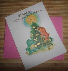 Care Bears Vintage Christmas Card 80s Tenderheart & Wish GOLD Hearts