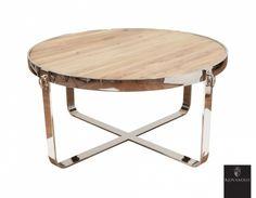 Tøft, rundt Avignon sofabord produsert i kombinasjon av et moderne understell i pusset rustfri stål og en røff og rustikk bordplate av resirkulert furu! Legg merke til de tøffe ringene som en ekstra detalj!