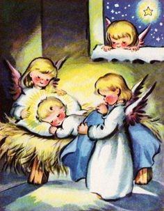 vintage angels Christmas card