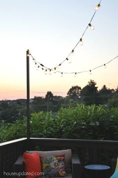 How to make a pole to add string lights to the deck! #patiolightingideas
