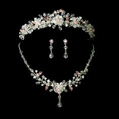 Pink Tiara Plus Jewelry Crystal Set for Mis Quince Anos, Quinceanera! specialoccasionsforless.com