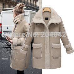 New Winter Long Lamb Fur Coat Women Elegant Real Double-faced Fur Overcoat Natural Sheepskin Leather Jacket 20141127-3X