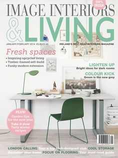 A whole lot of green love in the new issue of Image Interiors & Living. Muuto light in green, Muuto Leaf light in green and Visu chair and table. Commercial Interior Design, Commercial Interiors, Irish Images, Interiors Magazine, Living Magazine, Cover Gray, Article Writing, Contemporary Interior Design, Winter Food