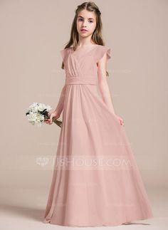 A-Line/Princess V-neck Floor-Length Chiffon Junior Bridesmaid Dress With Ruffle (009087906)