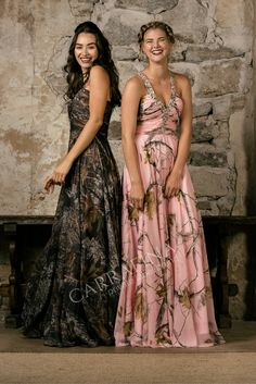 C A M O P R O M : Licensed Mossy Oak and Real Tree AP Pink Formal Dresses! Ask Your local special Occasion store about Carrafina!