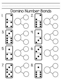 Domino Number Bonds: A quick and easy way practice number bonds. This product includes a practice sheet with the domino dots and a second sheet with no dots, so students could use real dominos to record their work. Numbers Kindergarten, Math Numbers, Kindergarten Math Worksheets, Eureka Math, Singapore Math, Second Grade Math, Grade 1, Math Addition, Kindergarten Math