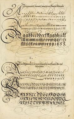 The Proper Art of Writing: a compilation of all sorts of capital or initial letters of German, Latin and Italian fonts from different masters of the noble art of writing. How To Write Calligraphy, Calligraphy Handwriting, Script Lettering, Lettering Styles, Calligraphy Letters, Typography Letters, Caligraphy, Penmanship, Beautiful Calligraphy