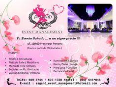comuniquese con nosotros via mail : asgard_event_management@hotmail.com /asgardeventmanagement@gmail.com o via telefonia al : 6695744 / 6751728