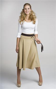 modest clothes! I love the kaki skirt with a light top! So feminine!