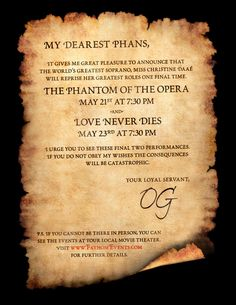 The Phantom invites you to see his glamorous and epic love story from beginning to end as Fathom brings Andrew Lloyd Webber's The Phantom of the Opera and Love Never Dies BACK to select movie theaters nationwide in a special two night big screen event!