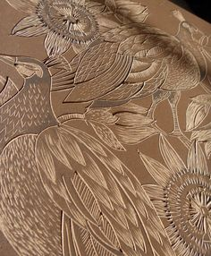Lino block for Peahens and Passionflower print by jerry Lino Art, Engraving Printing, Handmade Stamps, Tattoo Magazines, Linocut Prints, Magazine Art, Fabric Painting, Altered Art, Illustration Art