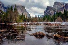 Winter Yosemite photos Valley View El Capitan Bridalveil Falls snow clouds