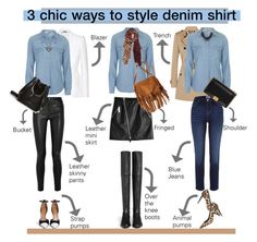 """3 chic ways to style denim shirt.."" by unamiradaatuarmario ❤ liked on Polyvore featuring Dsquared2, Topshop, American Eagle Outfitters, Pierre Hardy, Burberry, Alexander McQueen, River Island, Helmut Lang, Givenchy and Stuart Weitzman"