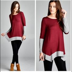 •colorblock asymmetric hem tunic• Asymmetric hem tunic with maroon body and great accent edges.  Material is 95% rayon and 5% spandex. Tops Tunics