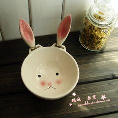 超萌兔子果酱碗 手绘陶瓷冰激凌沙拉碗含抹刀 原单生日新年礼物-淘宝网