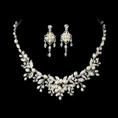 Silver Floral Fantasy Pearl Bridal Jewelry Set