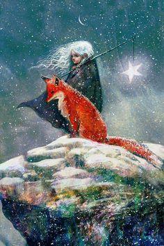 Sebastian McKinnon — Snow-haired Star Child with Fox. Illustration from Story 'Courage, My Love' by Liam McKinnon, 2015 Art And Illustration, Fuchs Illustration, Landscape Illustration, Fantasy Kunst, Fantasy Art, Art Fox, Photo D Art, Inspiration Art, Whimsical Art
