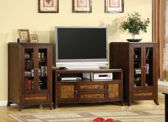 TV Stand CM5055-TVKASSANDRAWarm brown cherry is combined with an oak finish to create a beautiful contrasting look. Full and fast functionality is a promise with metal glide, full extension drawers, rear access for wires and no assembly required. The pier cabinets feature framed glass doors.Framed Glass DoorsFull Extension Drawers Fully AssembledRear Wiring AccessSolid Wood, Wood Veneer