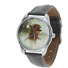 "Unisex Watch for Men and Women. ""HEDGEHOG"" Grey Watch. Unusual Design Style Watch. Wristwatch. Wrist watch."