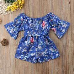 690baa705 Blue Bow Floral Romper - The Trendy Toddlers Blue Bow, Floral Romper,  Little Princess