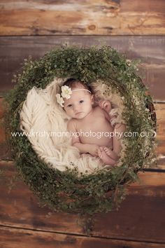 baby in wreath. newborn.