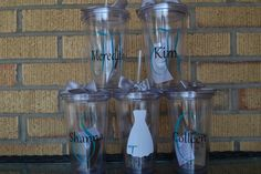 7 - Bridesmaid Gift - Bridal Tumblers - Set of 7 - Monogrammed Initial Tumblers  - Bridesmaids Gifts - Custom Letter/Colors -