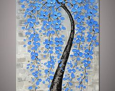 Hand-painted light blue flower tree wall art picture for living room home decor thick acrylic palette knife oil painting on canvas By Lisa
