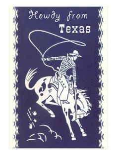 Howdy from Texas, Bucking Bronco Premium Poster