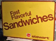 "METAL STEWART SANDWICH SIGN OLD COUNTRY STORE SCREEN DOOR AD LARGE 20"" X 14"" #STEWART"