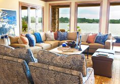 Living near or on the water really is the greatest most relaxing thing for us. I really appreciate this layout. Interiors | Gary Riggs Home