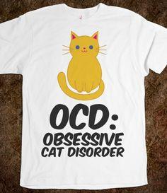OCD: Obsessive Cat Disorder-Unisex White T-Shirt from Skreened
