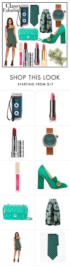 """classy and fabulous fashion"" by kristeen9 ❤ liked on Polyvore featuring Anya Hindmarch, LORAC, Clinique, Giuliano Mazzuoli, Stila, Gucci, Chanel, ADAM, Michael Lauren and Brooks Brothers"