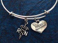 Happy Retirement RN Bracelets Adjustable Expandable Silver Wire Bangle Nurse Gift Handmade Trendy Custom