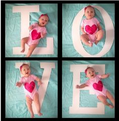 Adorable baby photoshoot with bold letters as props