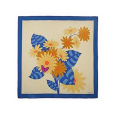 Madame Gres Mod SIlk Scarf with Butterfly and Flowers | From a collection of rare vintage scarves at https://www.1stdibs.com/fashion/accessories/scarves/