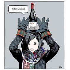 江口寿史 EGUCHI HISASHIさんはInstagramを利用しています:「Dec.2018 #illustration #artwork #bandedessinee #comicart #realwineguide #wine」 Illustration Art Dessin, Photo Sculpture, Web Design, Cute Girl Drawing, Wine Art, Manga Drawing, Illustrations And Posters, Creature Design, Japanese Art