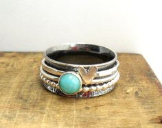 Amazonite  & Heart 3 Spinner Ring by StudioJewellerybyJo on Etsy
