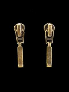 #Zipper #earrings, recycled zippers, antique brass tone, industrial. $14.00, via Etsy.