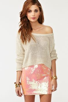 This skirt with the cropped knit. Cute even though i'm not into sequins all that much..