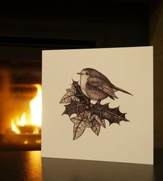Festive Robin Holly and Ivy Christmas Card by AnnaSteadArt on Etsy