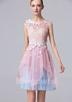 4e05afb1e130 Dacron Jewel Flowers Tulle A-line Ruched Zipper Short Length Sleeveless  Homecoming   Prom Dresses