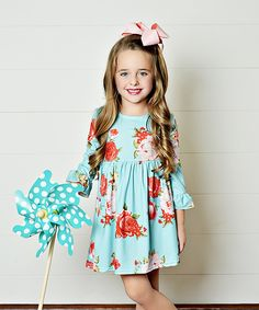 Take a look at this Teal Floral Babydoll Dress - Toddler & Girls today!