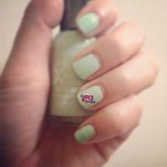 Super simple rose nail art!
