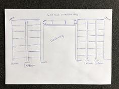 DIY – Hjemmebygget væg til væg bogreol | livingonabudgetdk Built In Furniture, Floor Plans, Design, Floor Plan Drawing