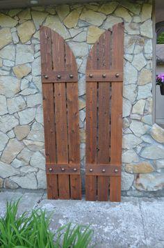 Stained cedar shutters, exterior shutters, Board and Batten ...