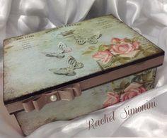 Caixa verde - arte com decoupage - Rachel Simonini