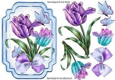 Pretty lilac and blue painted tulips on lace bracket on Craftsuprint - Add To Basket!